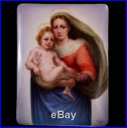 Antique German Hutschenreuther Hand Painted Madonna and Jesus Porcelain Plaque