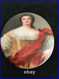 Antique German Hutschenreuther KPM Handpainted Portrait Porcelain Plaque Signed