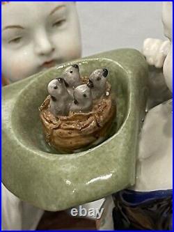 Antique German KPM Berlin Porcelain Figurine of Boy & Girl Hat Nest Baby Birds