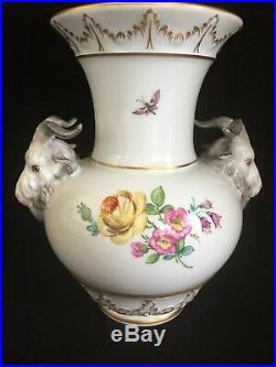 Antique German KPM Berlin Porcelain Ram Goat Head Vase