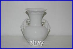 Antique German KPM Berlin White Porcelain Ram Goat Yak Head Vase