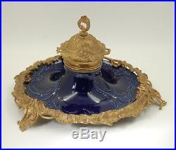 Antique German KPM DRESDEN Hand Painted Porcelain Cobalt & Bronze Inkwell