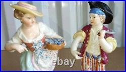 Antique German KPM Meissen Style Porcelain Figurine Couple, 5.75 high