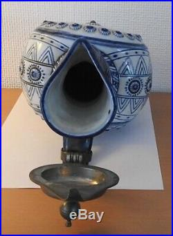 Antique German KPM Porcelain Blue Beer Stein Tankard Bartmann Character face old