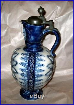 Antique German KPM Porcelain Cobalt Blue Beer Stein Tankard Flagon Krug