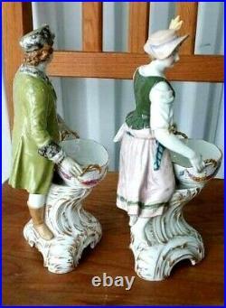 Antique German KPM Porcelain Couple Figurines, 9 H