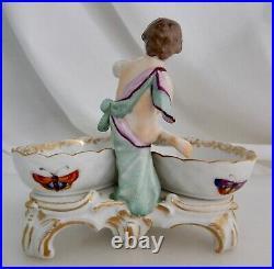 Antique German KPM Porcelain Double Open Salt Cellar Cherub 83185