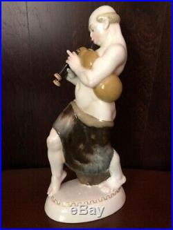 Antique German KPM Porcelain Figurine Of Arab With Bagpipe By A. Amberg 1915