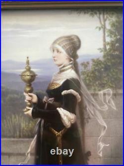 Antique German KPM Porcelain Painting Plaque Of Beautiful Woman withKPM Mark