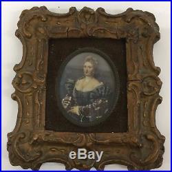 Antique German KPM Porcelain Painting Woman Oval Plaque Framed