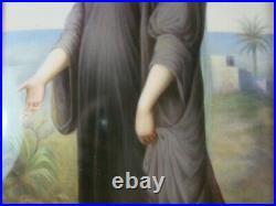 Antique German KPM Porcelain Painting of Esther With KPM Mark Framed