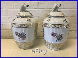Antique German KPM Porcelain Pair of Potpourri Urns Painted Decoration Eagle Lid