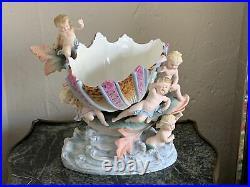 Antique German Kpm Mermaid Goddess & Shell Bisque Porcelain Figurine