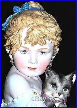 Antique German Kpm Victorian Baby Girl Doll With Cat Kitten Bisque Bust Figurine