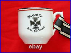 Antique German Military WWI 1914 Porcelain IRON CROSS Coffee Cup with ribbon