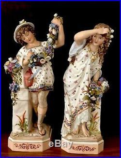 Antique German Old Kister, KPM Porcelain Pair Of Porcelain Figurines Of Lovers