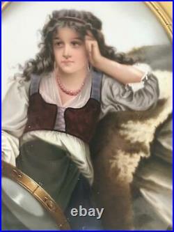 Antique German PORCELAIN PLAQUE Hutschenreuther KPM Hand Painted GYPSY GIRL