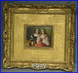 Antique German Painting Porcelain Plaque ala KPM SISTERS Vintage Ornate Frame