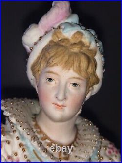 Antique German Porcelain Bisque KPM Berlin Lady Maiden Woman Figurine Figure