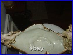 Antique German Porcelain Centerpiece Cherus & Nymph Victorian Compote KPM
