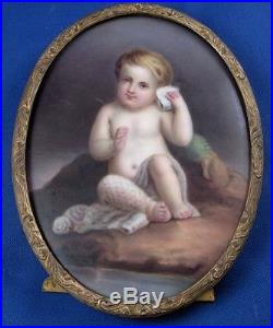 Antique German Porcelain Child Beach Scenic Plaque Porzellan Bild Scene French