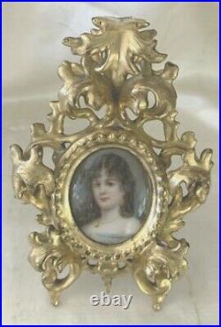 Antique German Porcelain Portrait Pretty Girl KPM Style Fancy Giltwood Frame