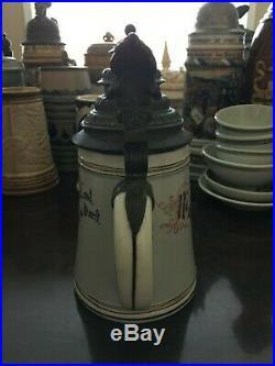 Antique German porcelain KPM stein with colored lithophane