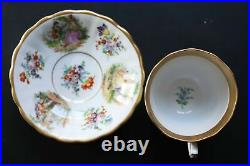 Antique Germany KPM Silesia Porcelain Bone China Tea Cup and Saucer XIXc