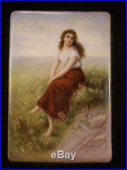 Antique Gilt Frame Kpm Porcelain Portrait HAND PAINTED Plaque Wagner Lady Girl
