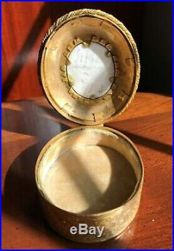 Antique Gilt Metal Trinket Box Marie Antoinette Porcelain Plaque KPM Style