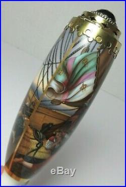 Antique HAND PAINTED GERMAN PORCELAIN TOBACCO PIPE COLUMBUS KPM MEISSEN QUALITY