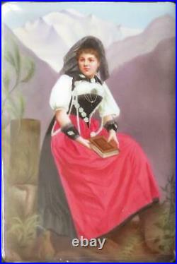Antique Hand Painted Floral Porcelain German Berlin Plaque Girl With Book