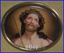 Antique Hand Painted German Porcelain ECCE HOMO Jesus Christ Painting ala KPM