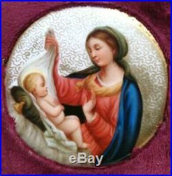 Antique Hand Painted Gilded Porcelain Christmas Nativity Plaque Kpm Style