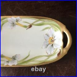 Antique Hand Painted Iris KPM Porcelain Serving Dish Artist Signed W. Wilson