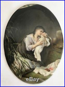 Antique Hand Painted KPM Hutschenreuther Style Oval Porcelain Plaque