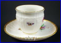 Antique Hand Painted KPM Porcelain Berlin Cup & Saucer Butterfly Floral Design