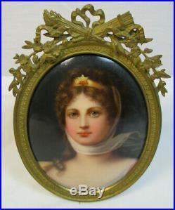 Antique Hand Painted KPM Style Porcelain Portrait Plaque Queen Louise #613