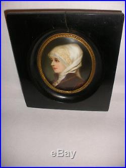 Antique Hand Painted KPM style Porcelain miniature portrait woman F. A. Kaulbach