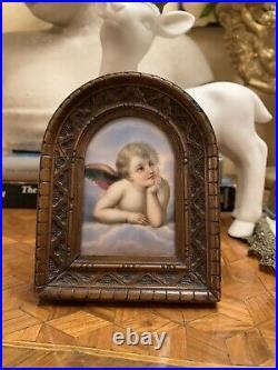 Antique Hand Painted Kpm Style Miniature Porcelain Sistine Madonna Plaque