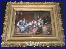 Antique Hand Painted Porcelain Plaque Probably KPM In A Frame