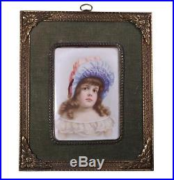 Antique Hand Painted Porcelain Plaque of a Young Child Little Girl Very Sweet