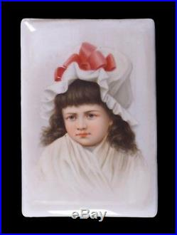 Antique Hand Painted Porcelain Plaque of a Young Girl