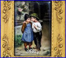 Antique Hand Painted Porcelain Tile Plaque Of Children Signed Wagner In Frame