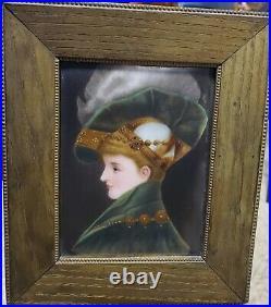 Antique Hand Painted Portrait Miniature on Porcelain KPM Circa 19th century