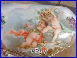 Antique Hand Painted Signed Sevres Cherub Roses Floral Porcelain Dresser Box 9