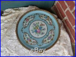 Antique Hand Painted Signed Sevres Roses Floral Porcelain Plateau Ormolu Tray