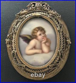 Antique Handpainted Porcelain Plaque CUPID ANGEL KPM Gilt Metal Frame