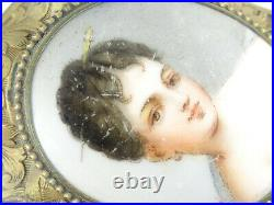 Antique Heavy Frame Hand Painted Kpm Lady Portrait C Clasp Pin Brooch 2.25