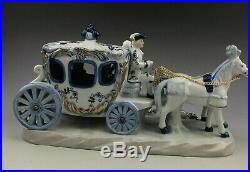 Antique Huge Circa 1930 KPM Pottery Horse Drawn Carriage